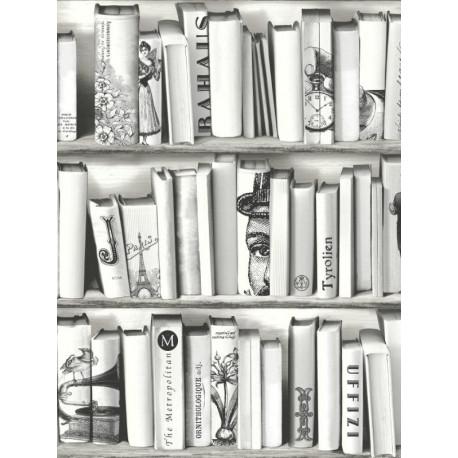 Papier peint trompe l'œil bibliothèque noir/blanc -UGEPA