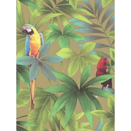Papier peint motif tropical et perroquets- Fond taupe - UGEPA