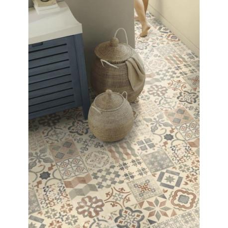 Sol PVC - Almeria Natural carrelage retro beige - Exclusive 240 Happy Shapes TARKETT - rouleau 4M