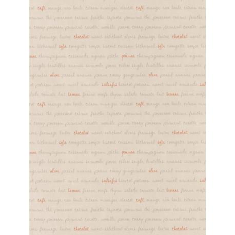 Papier peint Ingrédients beige et orange - Bon Appétit - Caselio