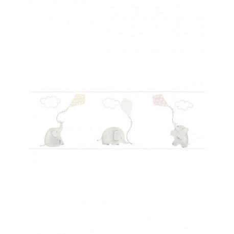 Frise duplex enfant à motif Elephants rose - MY LITTLE WORLD Caselio