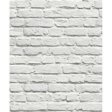 Papier peint vinyle Mur de briques blanc - Muriva -UGEPA