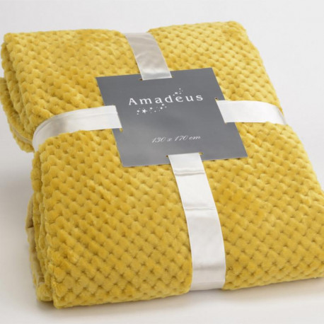 Plaid relief damier uni jaune moutarde - 130x170cm - Amadeus