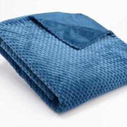 Plaid relief damier uni bleu nuit - 130x170cm - Amadeus