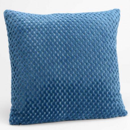 Coussin relief damier uni bleu nuit - 40x40cm - Amadeus