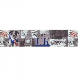 Frise adhésive London Union Jack - gris - Lutèce