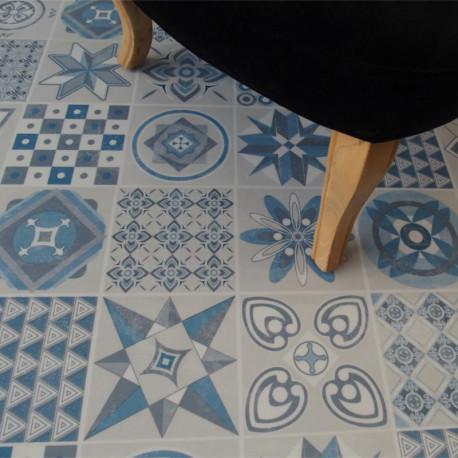 Lames vinyles PVC facile à clipser - carreaux de ciment bleu - Collection Deco Tile Click