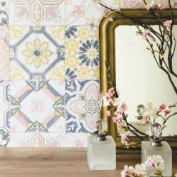 Papier peint carreaux de ciment jaune et rose pastel - Material - Caselio