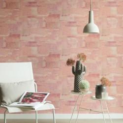 Papier peint effet béton rose - Material - Caselio
