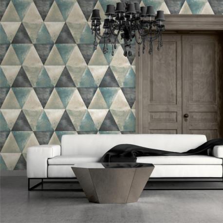 Papier peint Triangles Métallisés bleu et cuivre - HEXAGONE - Ugepa - L62501