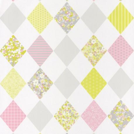 Papier peint pour enfant, Losange, rose vert, PRETTY LILI, CASELIO
