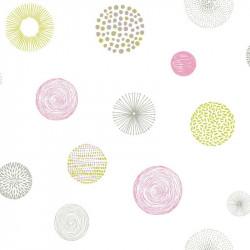 Papier peint pour enfant Rond Graph, rose et vert PRETTY LILI, CASELIO