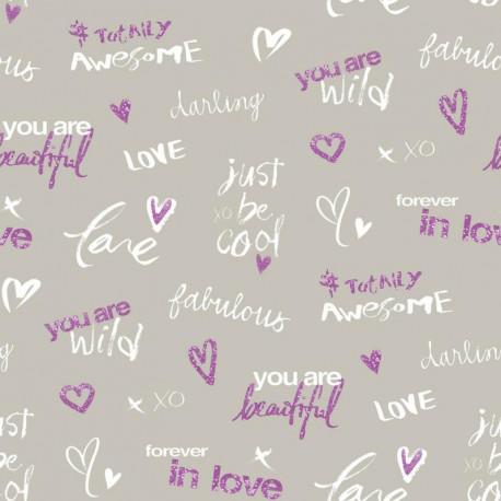 Papier peint pour enfant Darling, gris et violet PRETTY LILI, CASELIO