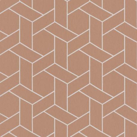 Papier peint Focale terracotta, touche argentée - HELSINKI - Casadeco