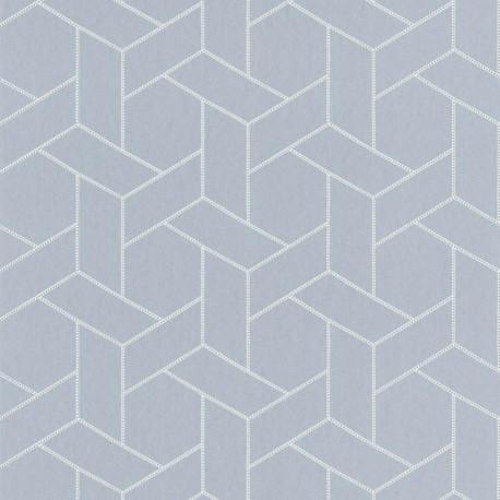 Papier peint Focale bleu gris, touche dorée - HELSINKI - Casadeco