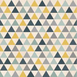 Papier peint Triangles bleu, jaune et gris - GRAPHIQUE - UGEPA