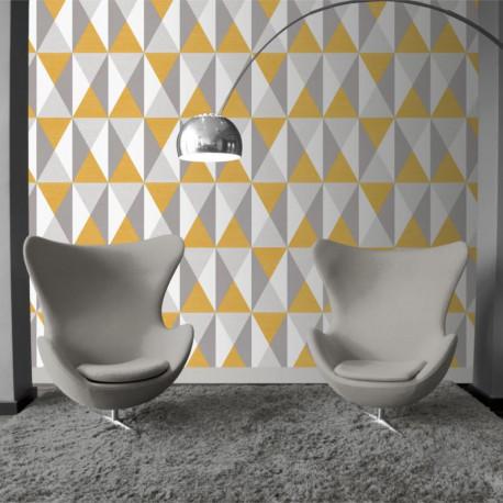 Papier peint motif géométrique Triangles gris et jaune - GRAPHIQUE - UGEPA