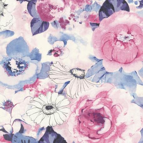 Papier peint Fleuri rose et bleu - LUCY IN THE SKY - Rasch - 803518