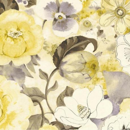 Papier peint fleuri, jaune - Lucy in the sky - Rasch
