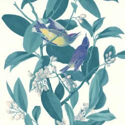 Papier peint BRANCHE OISEAU VERT - Rétro Vintage - Lutèce