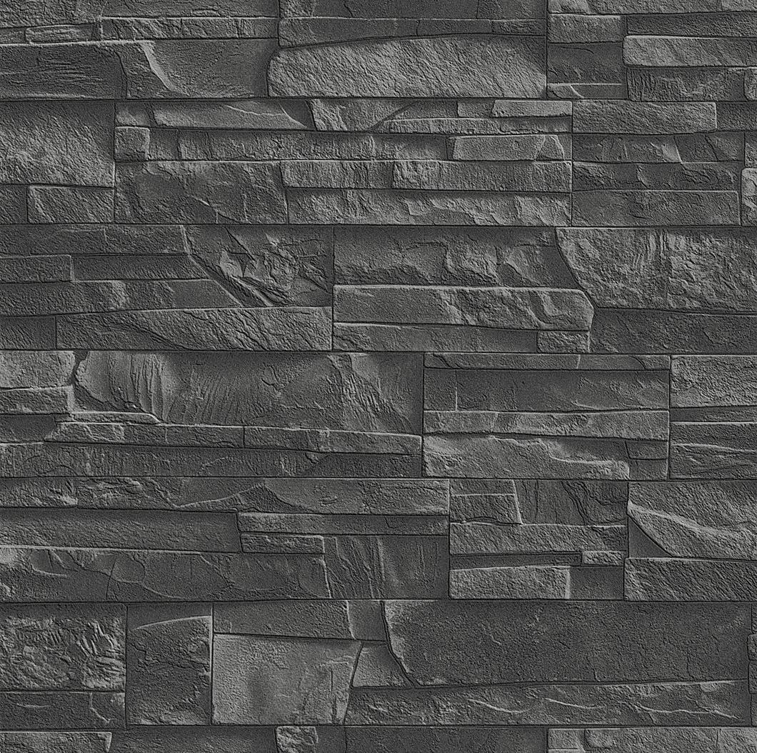 Papier peint effet mur de pierre gris, collection Factory ...