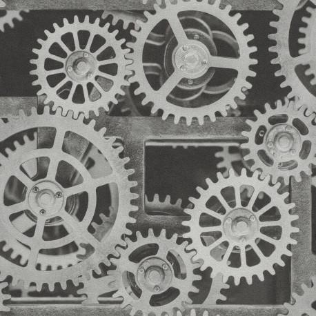 Papier peint engrenage mécanique - Factory III - Rasch