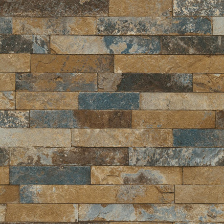 Papier peint briques bleu  - Factory III - Rasch