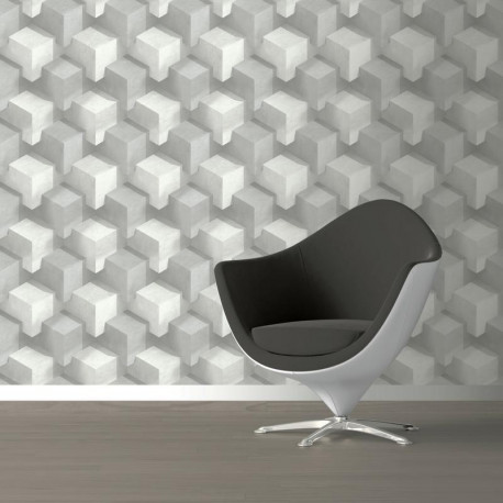 Papier peint vinyle grainé sur intissé illusion d'optique cubes gris et blanc - GRAPHIQUE - UGEPA