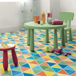 Revêtement PVC - Largeur 2m - Exclusive 300 CONCEPT IMAGINE - Tarkett - Harlequin/Triangles colorés - Garland Toffee