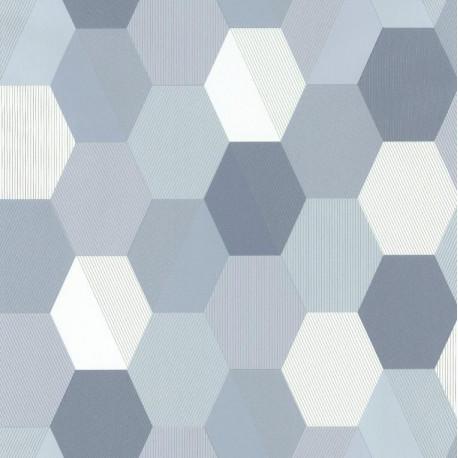 Papier peint Hexagon Bleu Gris– SPACES – Caselio