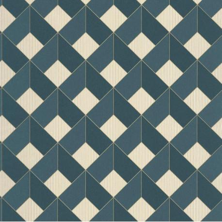 Papier peint Square Losange Bleu foncé – SPACES – Caselio