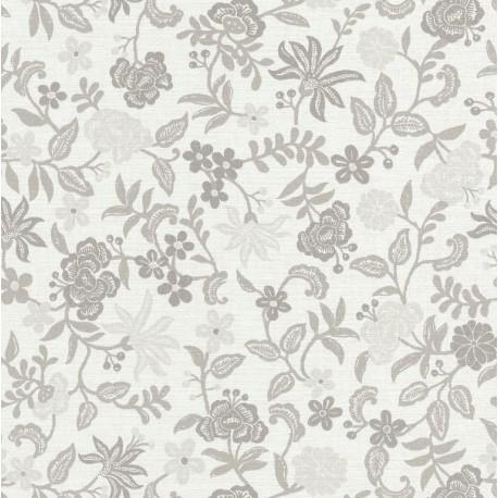 Papier peint Bohemia floral gris sur fond blanc – Acapulco - Caselio