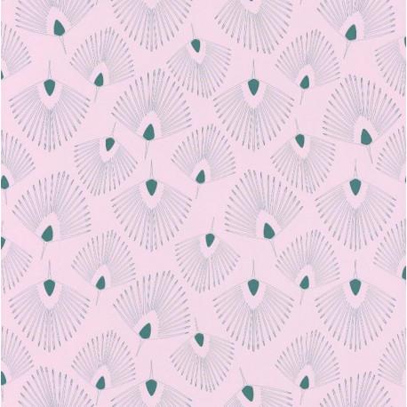 Papier peint Eventails vert sur fond rose pâle – JUNGLE - Caselio