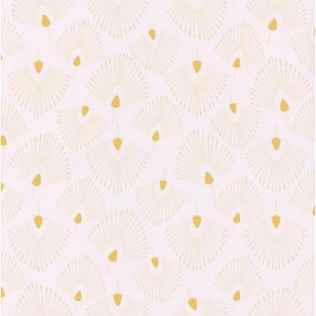 Papier peint Eventails jaune sur fond beige – JUNGLE - Caselio
