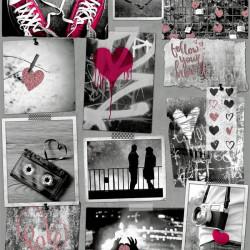 Papier peint Love pailleté rose et noir et blanc  - FREE STYLE - Ugepa
