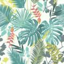 Papier peint vinyle sur intissé Jungle Mix vert et corail  - Lutèce 51178304