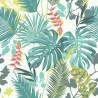 Papier peint vinyle sur intissé Jungle Mix vert et corail  - Lutèce