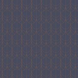 Papier peint intissé FILAMENT bleu et cuivre - Belle Epoque Casadeco