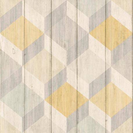 Papier peint Cubes bois jaune et gris - INSPIRATION WALL - Grandeco - IW2003-A29103