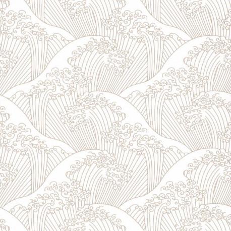 Papier peint vagues NAMI beige irisé - HANAMI - Caselio