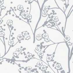 Papier peint cerisier japonais SAKURA gris argent - HANAMI - Caselio