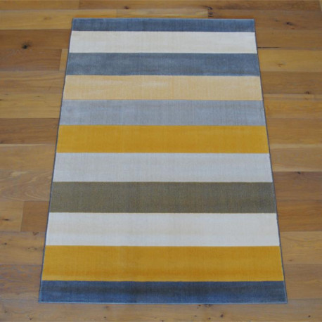 Tapis à rayures jaune et gris - Canvas - 140x200cm