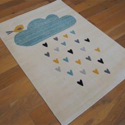 Tapis enfant Juno beige - Nuage bleu et coeurs - Canvas - 120x170cm