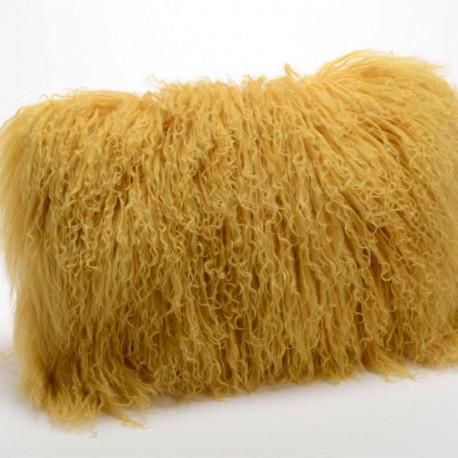 Coussin en poils d'agneau jaune moutarde - 40x40cm - Amadeus