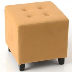 Tabouret carré VELOURS jaune moutarde - 35x35x35cm - AMADEUS
