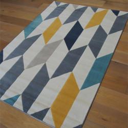 Tapis moderne à motif géométrique bleu, jaune, gris - 2 tailles - Canvas