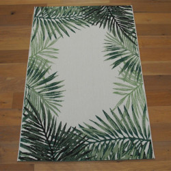 Tapis tissé Tropical - Feuillage vert sur fond écru - STAR - 140x200cm
