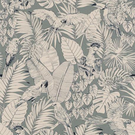 Papier peint Madagascar Tropical vert de gris - Rasch - 447835