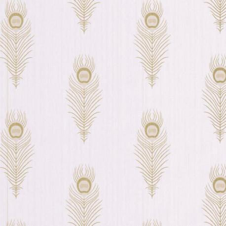 Papier peint PEACOCK beige et doré - SCARLETT - Caselio