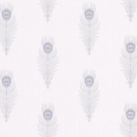 Papier peint PEACOCK blanc et argenté - SCARLETT - Caselio